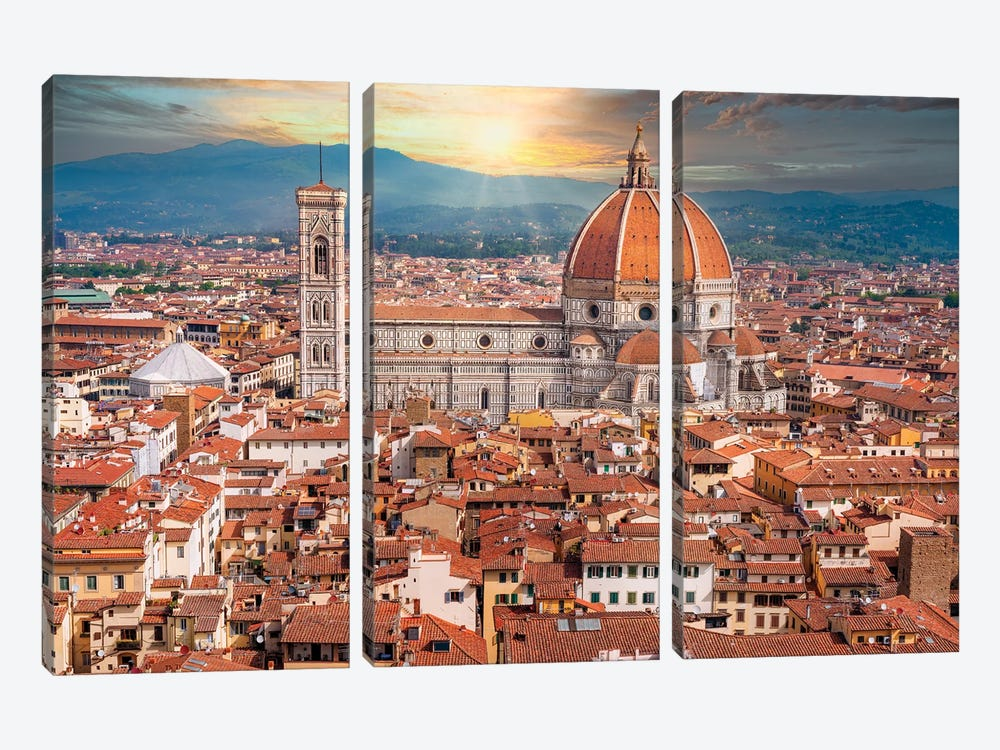 Dramatic Sunset Behind Il Duomo Florence Italy by Susanne Kremer 3-piece Canvas Art