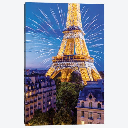 Eiffel Tower Sparkles Canvas Print #SKR395} by Susanne Kremer Canvas Artwork
