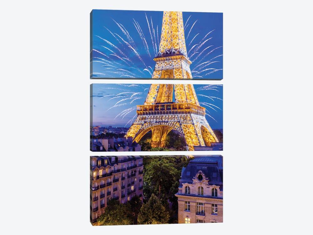 Eiffel Tower Sparkles by Susanne Kremer 3-piece Canvas Art Print