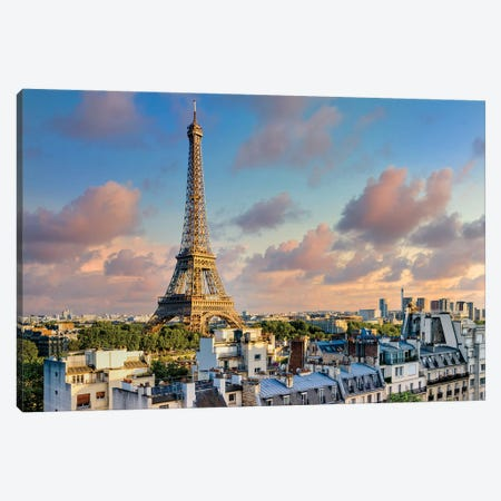 Sunset Eiffel Tower Paris Canvas Print #SKR397} by Susanne Kremer Canvas Wall Art