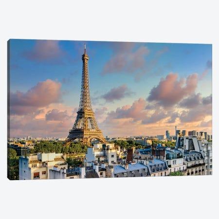Sunset Eiffel Tower Paris Canvas Print #SKR397} by Susanne Kremer Canvas Wall Art