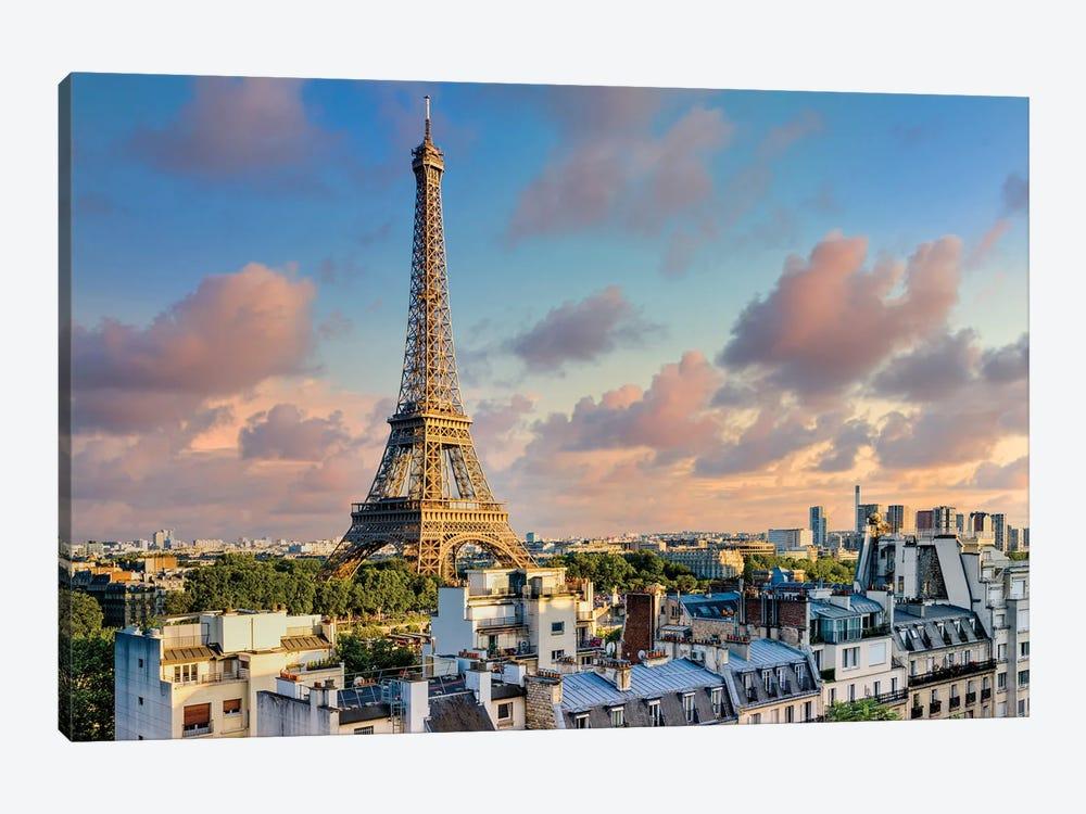 Sunset Eiffel Tower Paris by Susanne Kremer 1-piece Canvas Art Print