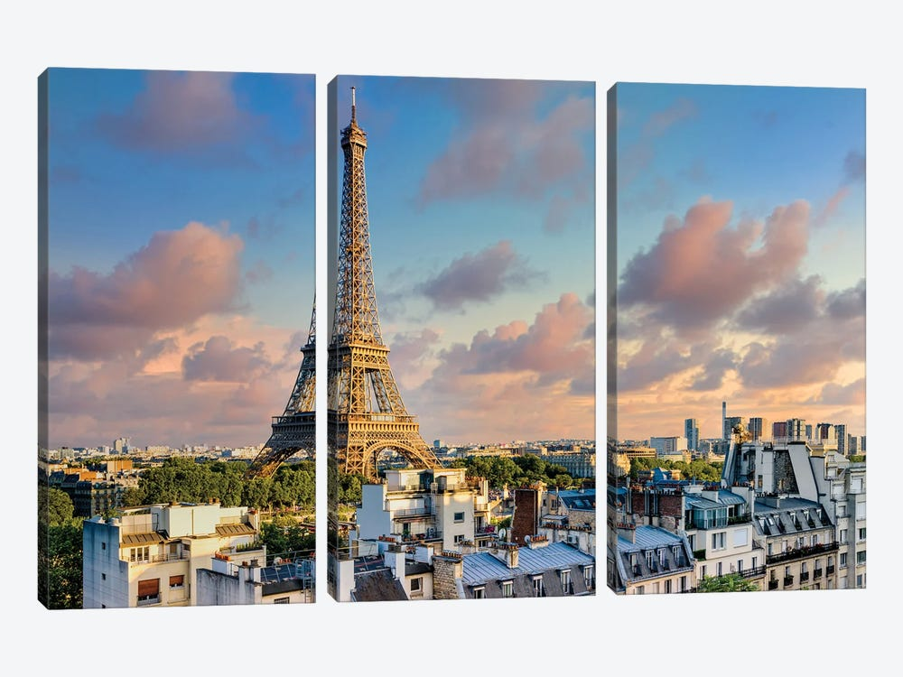 Sunset Eiffel Tower Paris by Susanne Kremer 3-piece Art Print