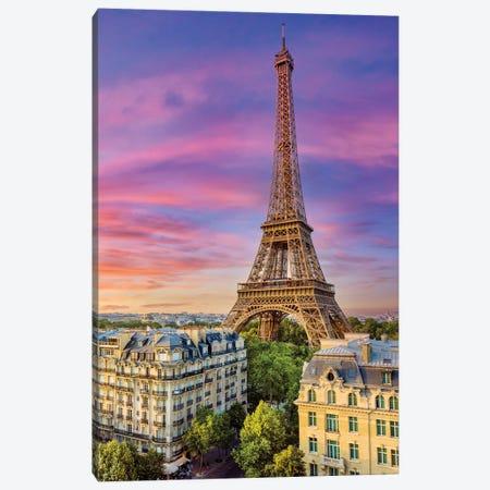 Colorful Sunset Eiffel Tower Paris Canvas Print #SKR398} by Susanne Kremer Canvas Print