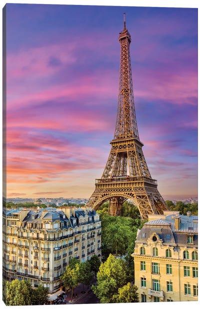 Colorful Sunset Eiffel Tower Paris Canvas Art Print