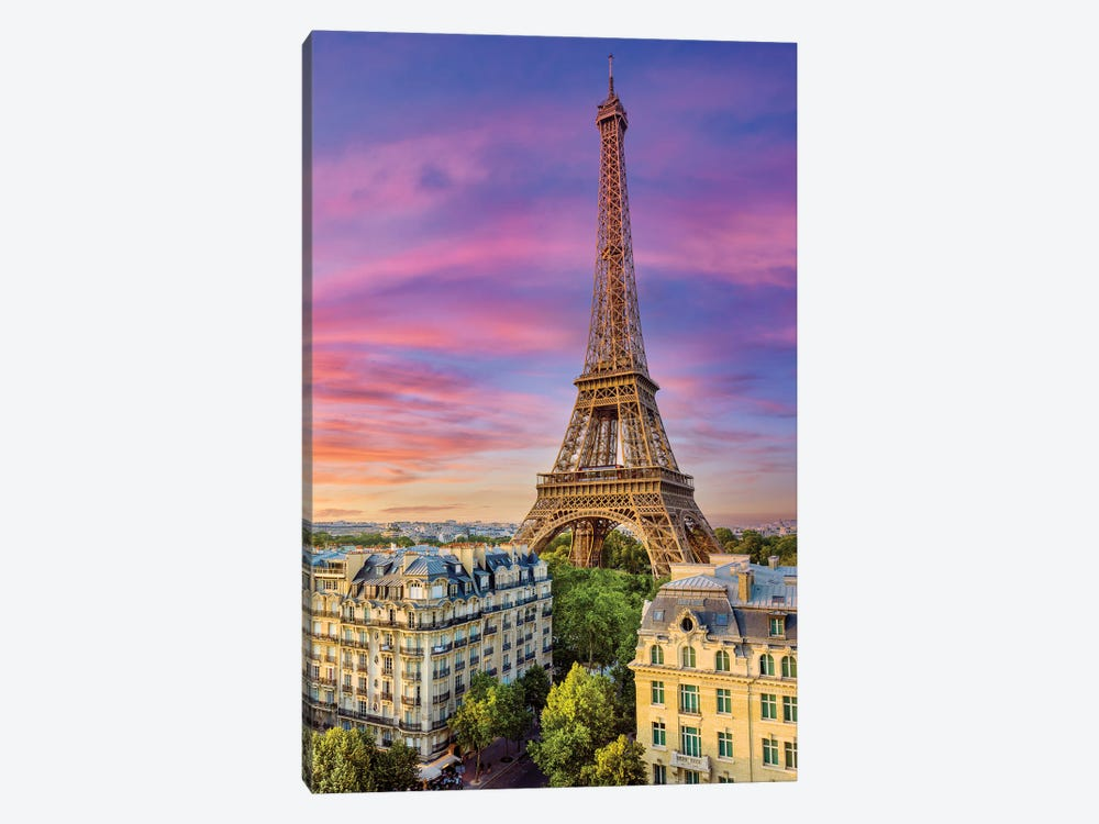 Colorful Sunset Eiffel Tower Paris by Susanne Kremer 1-piece Canvas Art