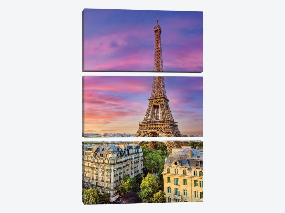 Colorful Sunset Eiffel Tower Paris by Susanne Kremer 3-piece Canvas Artwork