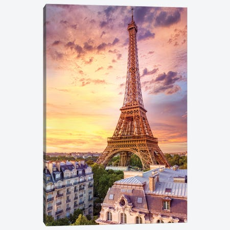 Romantic Sunset Eiffel Tower Paris Canvas Print #SKR399} by Susanne Kremer Canvas Art Print