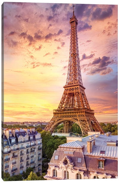 Romantic Sunset Eiffel Tower Paris Canvas Art Print