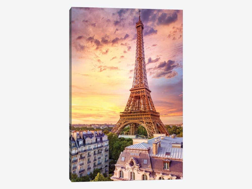 Romantic Sunset Eiffel Tower Paris by Susanne Kremer 1-piece Art Print