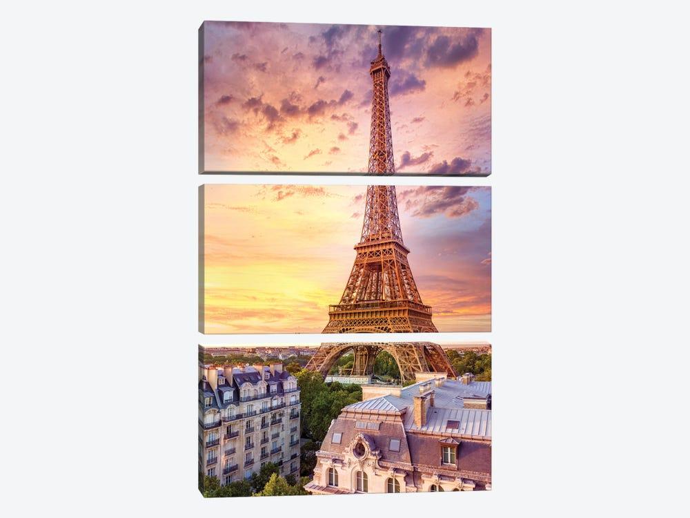 Romantic Sunset Eiffel Tower Paris by Susanne Kremer 3-piece Canvas Art Print