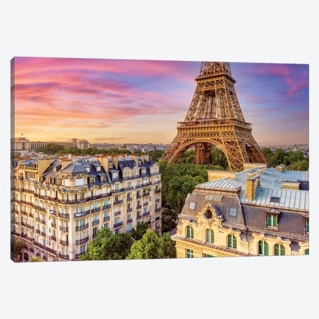 Classic VIew Sunset Eiffel Tower Paris Canvas Print #SKR400} by Susanne Kremer Art Print