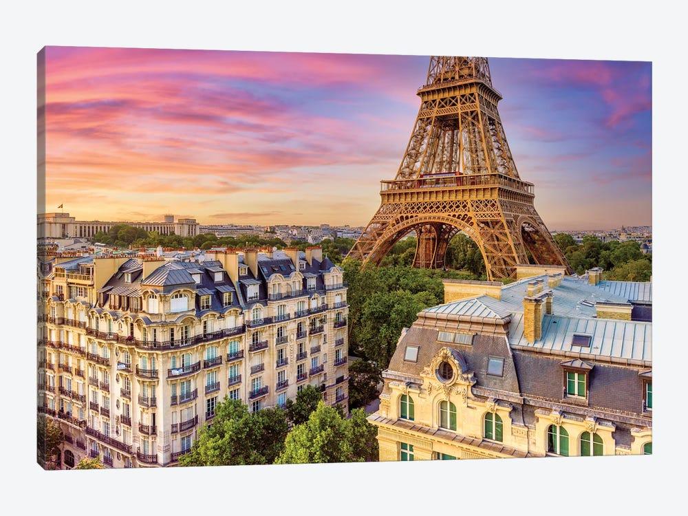 Classic VIew Sunset Eiffel Tower Paris by Susanne Kremer 1-piece Canvas Artwork