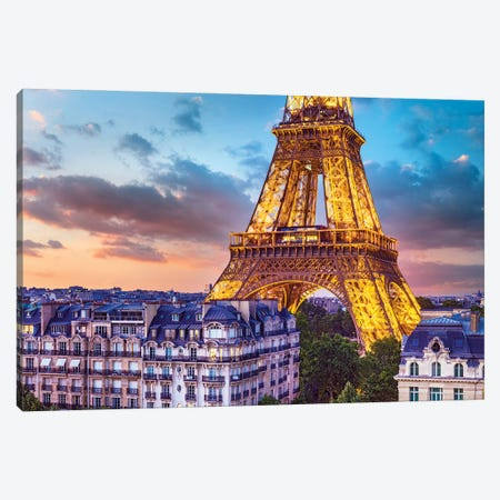 Romantic Night Eiffel Tower Paris Canvas Print #SKR401} by Susanne Kremer Canvas Print