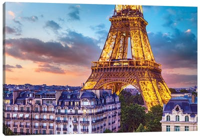Romantic Night Eiffel Tower Paris Canvas Art Print