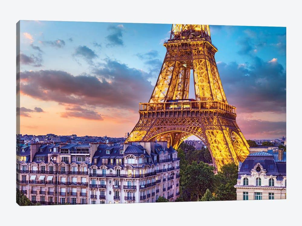 Romantic Night Eiffel Tower Paris by Susanne Kremer 1-piece Canvas Art Print