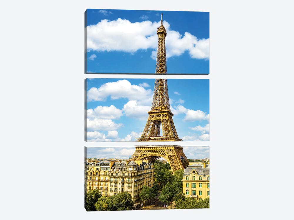 Blue Sky Eiffel Tower by Susanne Kremer 3-piece Canvas Artwork