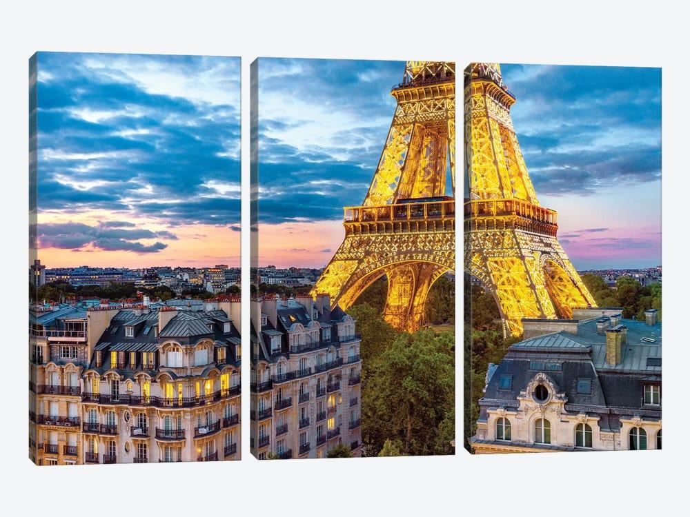 Best VIew In Town Eiffel Tower Paris by Susanne Kremer 3-piece Canvas Print