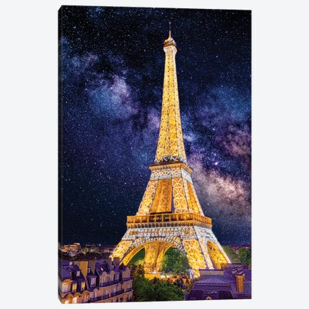 Under The Stars, Eiffel Tower Paris Canvas Print #SKR404} by Susanne Kremer Canvas Artwork