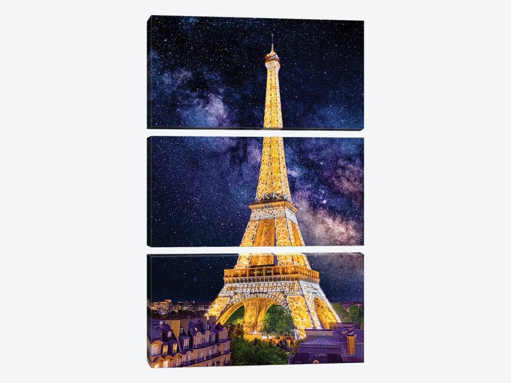 Under The Stars, Eiffel Tower Paris by Susanne Kremer 3-piece Canvas Wall Art