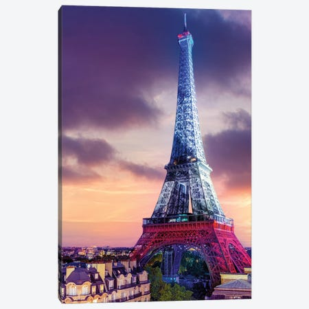 Vive La France ,Eiffeltower French Flag Illuminated,Paris Canvas Print #SKR405} by Susanne Kremer Canvas Wall Art