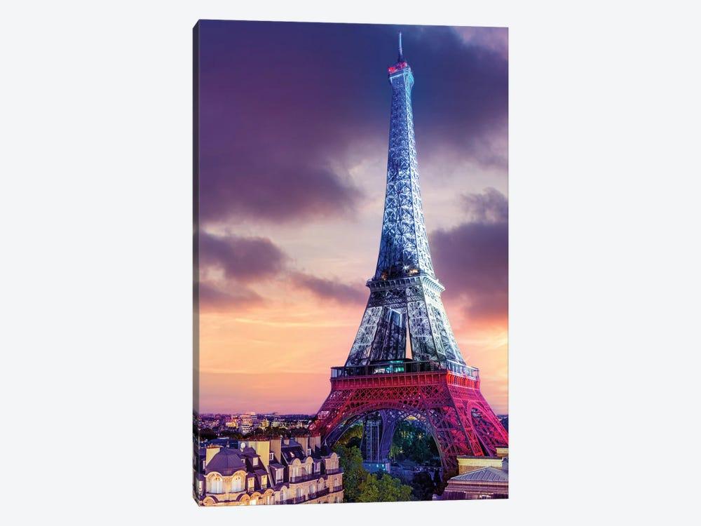 Vive La France ,Eiffeltower French Flag Illuminated,Paris by Susanne Kremer 1-piece Canvas Print