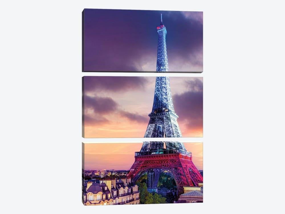 Vive La France ,Eiffeltower French Flag Illuminated,Paris by Susanne Kremer 3-piece Art Print