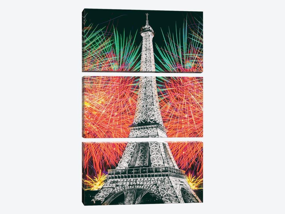 Eiffel Tower Art,Paris by Susanne Kremer 3-piece Canvas Wall Art