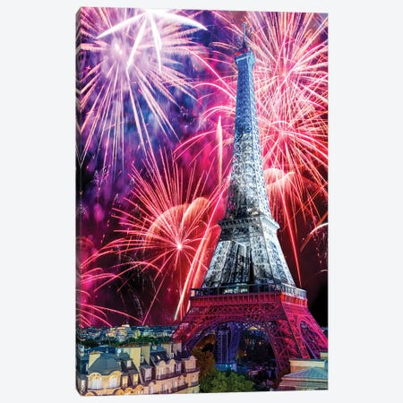 Eiffel Tower Celebrations,Paris Canvas Print #SKR407} by Susanne Kremer Canvas Wall Art