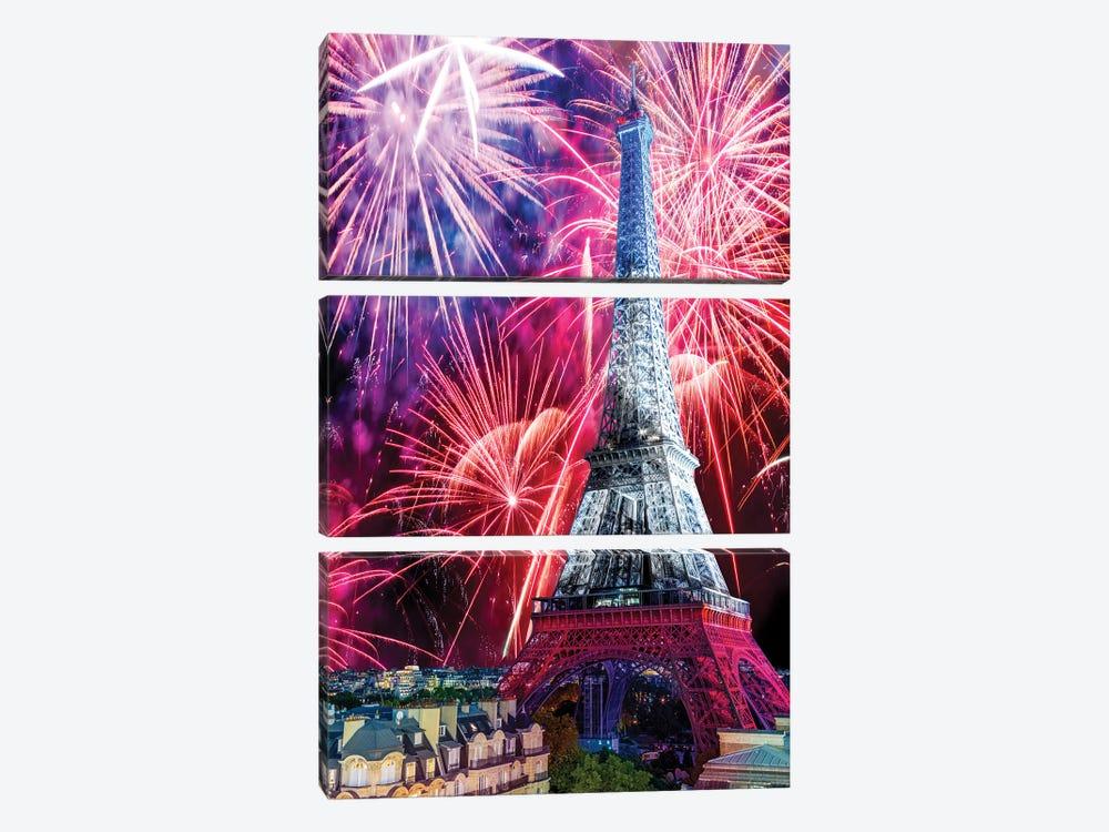 Eiffel Tower Celebrations,Paris by Susanne Kremer 3-piece Canvas Art Print