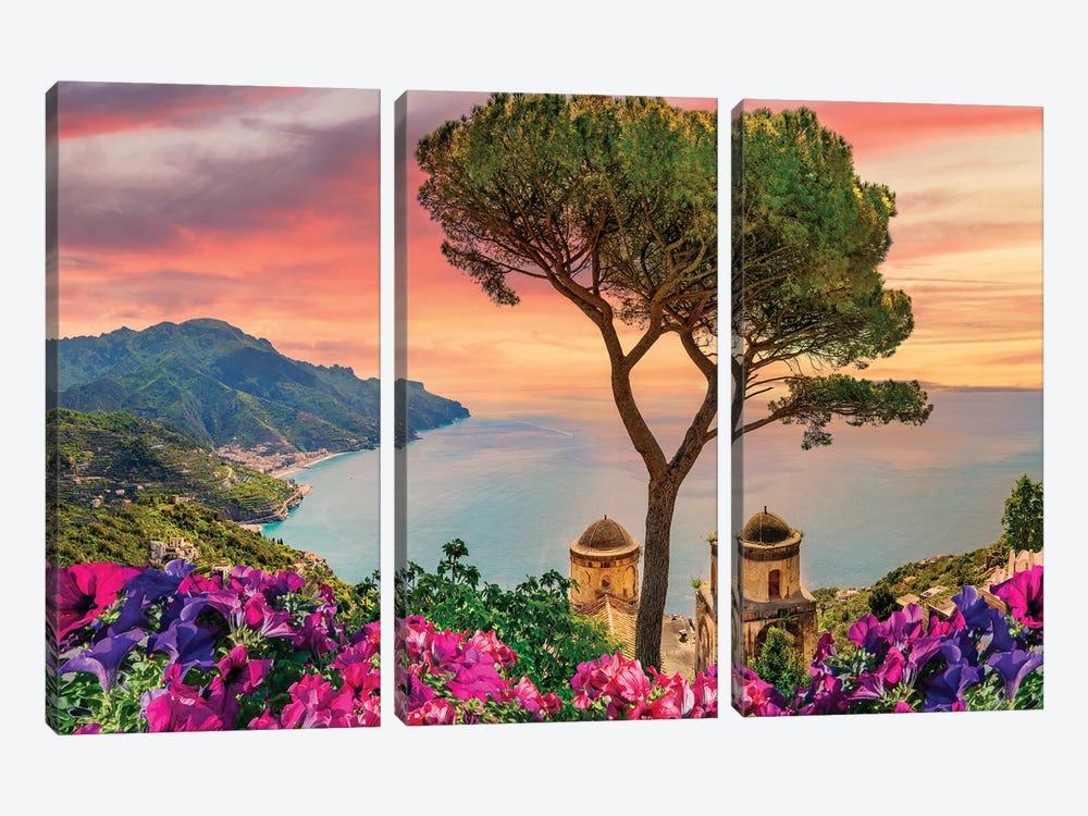 Amalfi Coast Sunset,Italy by Susanne Kremer 3-piece Canvas Art Print
