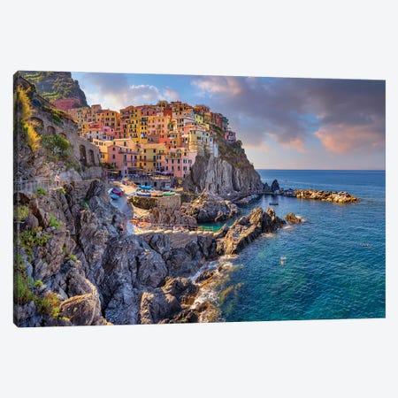 Summer Nights Manarola, Cinque Terre, Italy Canvas Print #SKR410} by Susanne Kremer Canvas Artwork