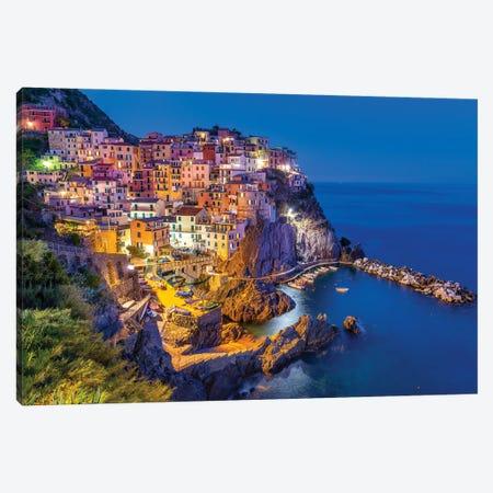 Blue Night,  Manarola Cinque Terre, Italy Canvas Print #SKR413} by Susanne Kremer Canvas Artwork