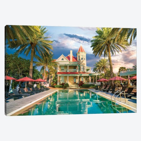Key West historic Mansion, Florida Canvas Print #SKR417} by Susanne Kremer Canvas Print