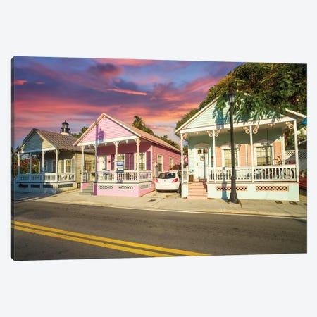Colorful Homes in Key West, Florida Canvas Print #SKR418} by Susanne Kremer Canvas Artwork