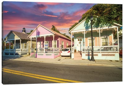 Colorful Homes in Key West, Florida Canvas Art Print