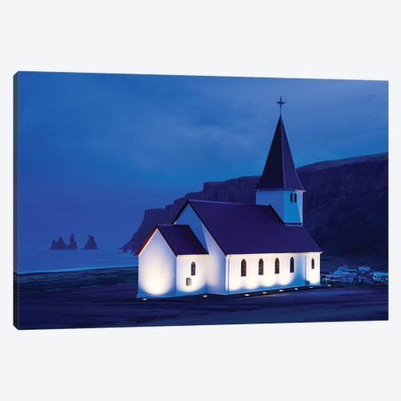 Church and Reynisdrangar Basalt II Canvas Print #SKR42} by Susanne Kremer Canvas Wall Art