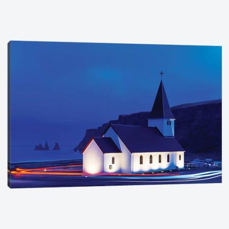 Church and Reynisdrangar Basalt III Canvas Print #SKR43} by Susanne Kremer Canvas Artwork