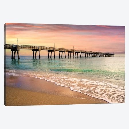 Beach Pier Sunrise, South Florida Canvas Print #SKR442} by Susanne Kremer Art Print