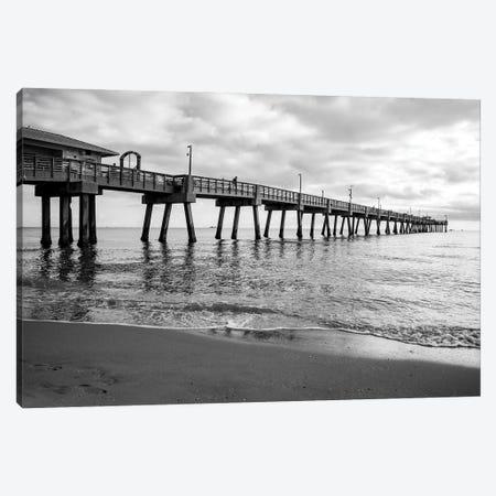 Moody Black And White,Beach Pier,South Florida Canvas Print #SKR444} by Susanne Kremer Canvas Artwork