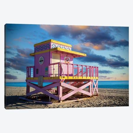 Pink Lifeguard House South Florida Sunrise Canvas Print #SKR445} by Susanne Kremer Canvas Wall Art