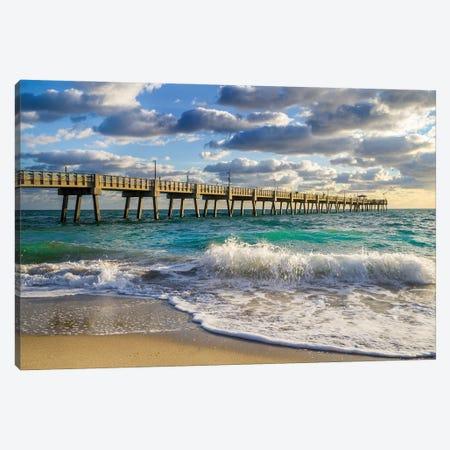 Florida Beach Pier,High Tide Waves,Miami,Florida Canvas Print #SKR446} by Susanne Kremer Canvas Artwork