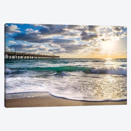 Beach Pier,Early Morning Waves,Miami Florida Canvas Print #SKR447} by Susanne Kremer Canvas Artwork