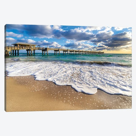 Pier Early Morning,Waves Coming In,Miami Florida Canvas Print #SKR448} by Susanne Kremer Art Print