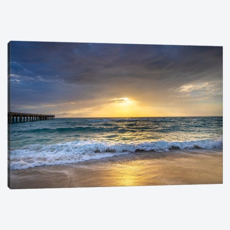 Serene Sunrise At The Beach, Miami,South Florida Canvas Print #SKR451} by Susanne Kremer Canvas Artwork