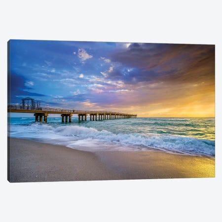 Powerful Sunrise With Pier, Miami South Florida Canvas Print #SKR452} by Susanne Kremer Canvas Artwork
