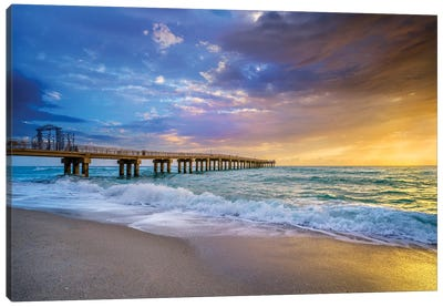 Powerful Sunrise With Pier, Miami South Florida Canvas Art Print