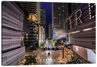 City Lights Miami At Night,Miami Florida Canvas Art Print