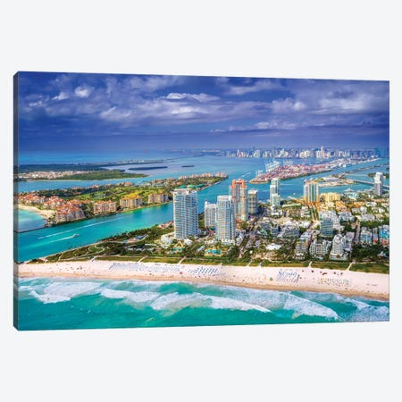 Miami South Beach From The Helicopter II Canvas Print #SKR489} by Susanne Kremer Canvas Art Print