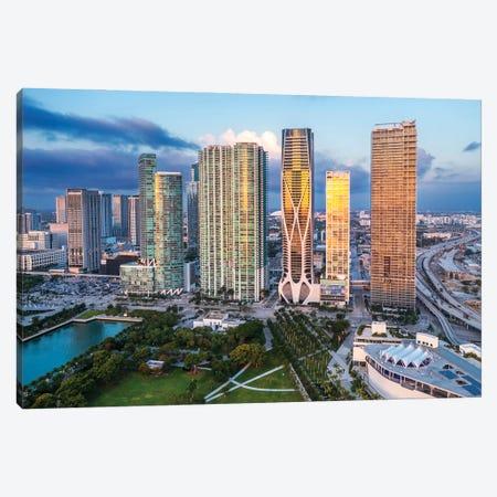 Miami Downtown Skyline Sunrise Reflection Aerial Canvas Print #SKR493} by Susanne Kremer Canvas Artwork
